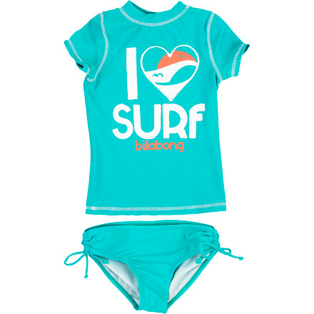 Surf Your gal is going to spend the day at the beach in her rashguard anyways, so just cut to the chaseand double her comfortand outfit her in the Billabong Girls' Suzie Rashguard Set. Now she can enjoy the fast-drying comfort of the top without the bother of a soggy bathing suit top underneath. She'll also dig that fact that the bottom perfectly matches the top for a completely coordinated look. - $39.56