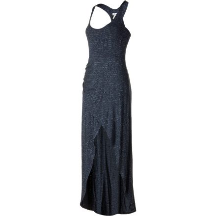 Entertainment Va-va-voom! The striped and sexy Element Women's Violet Dress maxi dress with high-low hemline overlay will wow everyone on hot summer nights. Mixing a sporty racer back and sultry skin-baring front, this flattering frock goes from poolside party to uptown event like a breeze. - $49.45