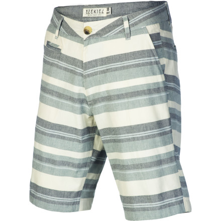 The Ezekiel Glenn Short keeps you looking fresh with a horizontal yarn-dyed stripe pattern and dope details like a contrast interior waistband and custom logo details. - $36.37