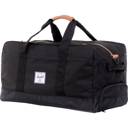 Entertainment Looking for a durable, mid-capacity bag without a bunch of useless bells and whistles The basic and bombproof Herschel Outfitter Duffel Bag features a supremely crammable construction and hideaway backpack straps that make it easy to carry even heavy loads. - $129.95