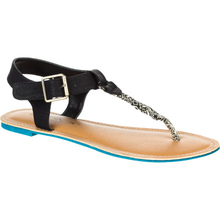 Surf Strut your stuff this summer in the O'Neill Tavarua Women's Sandal. A faux leather ankle strap with a buckle closure and an eye-catching braided T-strap give it a unique look that's sure to get people's attention, and the brightly colored sole will cause double-takes as you stroll away. - $28.76