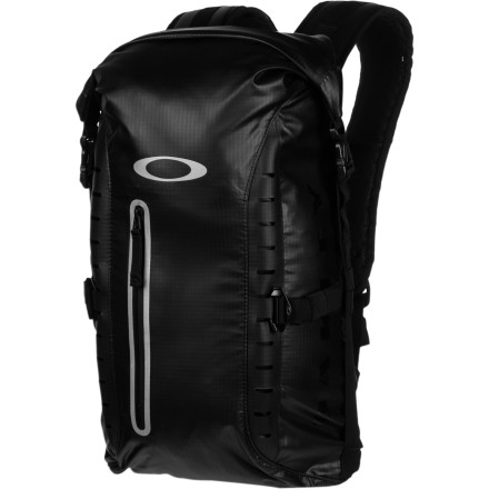 Camp and Hike Protect your gear from getting damp when you're hiking in wet climates with the Oakley Motion 22 Backpack. The roll-top closure main compartment and water-resistant fabric prevent water from seeping in and soaking all your stuff, so you're prepared for daily downpours in the tropics or all-day drizzles in the Pacific northwest. - $170.00
