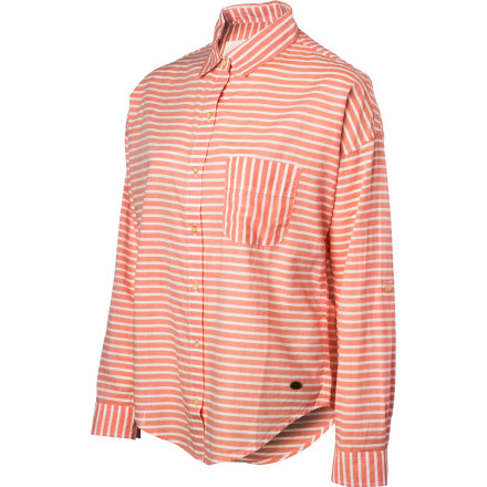 Surf The all-cotton button-down shirt is a timeless wardrobe staple, and the coolly casual Quiksilver Women's Annadel Shirt livens up this classic. With sporty stripes, an easy fit, and roll-up sleeves, this top goes to the beach or town with effortless style. - $35.43