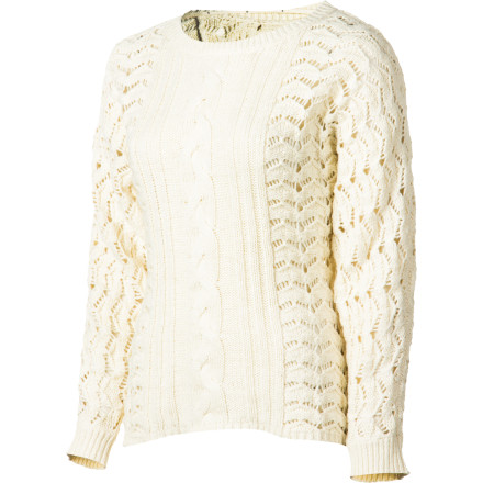 Surf A summery open-stitch sweater adds warming comfort when the sun dips or the winds kick up, and the Quiksilver Women's Cozy Coast Sweater does it in style. Dolman sleeves provide easy movement, and cable detail is reminiscent of a cozy alpine lodge. Warm up and wind down. - $74.50