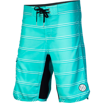 Surf Some things never get old, like rope swings into lakes or the classic style of the Reef River Jetties II Men's Board Short. It has a basic print and a scalloped leg to lend it a touch of vintage style, but with an up-to-date stretch fabric and a four-way stretch crotch gusset for unrestricted movement. - $59.95