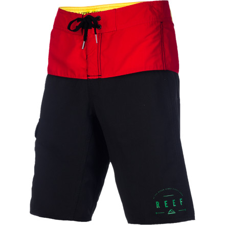 Surf Keep things simple with the classic looking Reef Top Half Men's Board Short. It features a basic print with contrasting colors for just the right amount of pop, and the polyester microfiber fabric will keep you comfy and dry. - $41.95