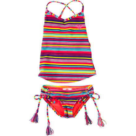 Surf Roxy Sea Side Cross Over Swimsuit - Toddler Girls' - $40.00