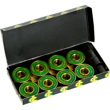 Skateboard Getcha roll on with the Shake Junt ABEC 7 Skate Bearings. The ABEC 7 means less friction, which means less pushing, which means you will be going faster than ever before. Gold housing with green SJ branded shields makes these bearings stylishand fast. - $14.36