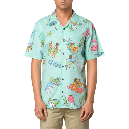 Skateboard The weekend is so close that you can feel it, so show your readiness for the next two days of relaxing with the Vans Casual Friday Aloha Men's Short-Sleeve Shirt. The lively island-inspired prints serve as a reminder that better times lie ahead, and the light cotton fabric will keep you cool and comfy when you get there. - $44.45