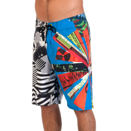 Surf You're sure to get some attention when you show up to the beach in the Volcom Blingo Men's Board Short. The eclectic, eye-catching print will turn some heads, and once you have everyone's attention the four-way stretch fabric won't hold you back when you're throwing down some wild moves for the crowd. - $59.45