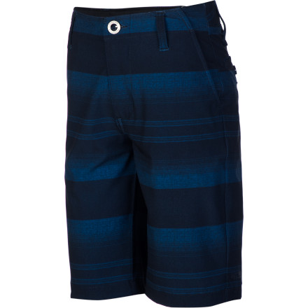 Surf When the roller coasters, haunted houses, and bumper cars don't satisfy his thirst for thrills, let him try the super-steep and scary water slide. His Volcom Boys' Frickin V4S Short dries quickly after he takes the plunge so he's not soaked for the rest of the day. - $49.45