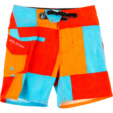 Surf Get your kid in the Volcom Boys' Maguro Block Board Short before he hits the beach. The classic cut will keep him looking his best, and the quick-drying fabric won't soak your car seat on the way home. - $25.17