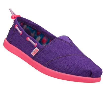 Classic fun style; comfort and a good feeling come in the SKECHERS Bobs World - Toggle Ups shoe.  Soft fabric upper in a slip on casual alpargata flat with stitching and overlay accents. - $35.00
