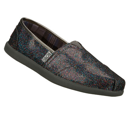 Put some sparkling style into your life with the SKECHERS Bobs World - Earth Papa shoe.  Soft glitter-finish canvas fabric upper in a slip on casual alpargata flat with stitching and overlay accents. - $42.00