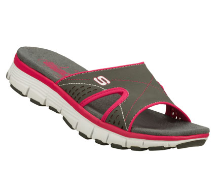 Surf Sporty style and breezy comfort work together perfectly in the SKECHERS Bravos - Perfect Match sandal.  Smooth synthetic upper in a sporty casual comfort slide sandal with stitching and perforation accents. - $40.00
