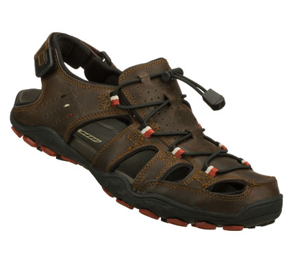 Surf Refined style gets ready for adventure in the SKECHERS Pebble - Viktor sandal.  Smooth leather upper in a closed toe casual fisherman trail sandal with stitching; overlay and perforation accents. - $59.00