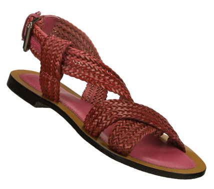 Surf Terrific texture adds style in the SKECHERS Grand Glam - Bob and Weave sandal.  Smooth intricately woven leather upper in a flat roman strappy ankle strap slide sandal with adjustable buckle. - $55.00