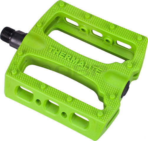 "BMX Stolen's Thermalite Pedals feature unique concave, low profile design molded w/ Thermalite nylon based material. Recessed end to prevent damage to bearing cover.Key Features of the Stolen Thermalite Pedals Gang Green 9/16"": Pedal Type: Platform Intended Use: BMX Pedal Spindle: 9/16"" Spindle Material: Chromoly Material: Thermalite Plastic Defined Color: Green Color: Gang Green Wght/Dims: 1 lbs. 5.5 x 4.25 x 2 - $13.95"
