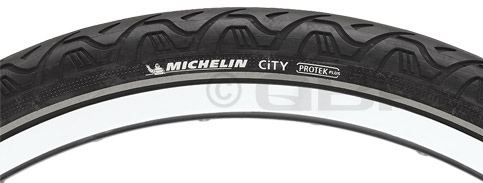 "Fitness The City Reflective tire features a tough Protek Plus layer under the tread that was designed to make punctures a thing of the past. And the tread pattern makes this tire particularly well-suited to asphalt and cement. Key Features of the Michelin City Bike Tire Black Reflective Strip 700X32C: Silicium-compound tread for low rolling resistance and mud shedding Protek Plus layer under tread to resist punctures Intended Use: Cross-Hybrid Defined Color: Black Color Tread/Side: Black/Black Tire Type: Clincher Tire Diameter: 700c Labeled Width: 32 ISO Width: 32 mm ISO Diameter: 622 / road / 29"" Tire Bead: Steel PSI: 36 - 73 PSI Weight: 675.0 g Wght/Dims: 1.53 lbs. 27 x 27 x 1 - $35.95"