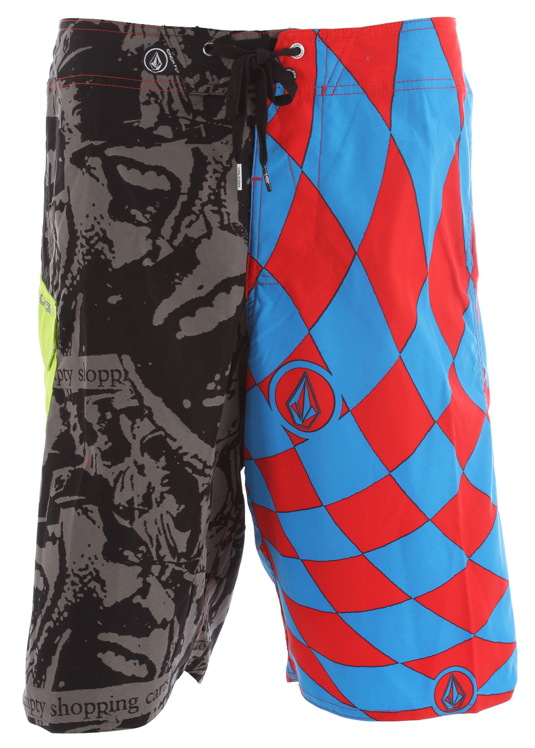 "Surf Key Features of the Volcom Maguro Paradox Boardshorts: 22"" outseam boardshort Volcom 2 way stretch Rubber circle stone Right let and left leg are different prints Contrast side flap pocket Embroidered eyelet on pocket Cinch Fly technology 100% polyester 2 way mechanical stretch - $49.50"