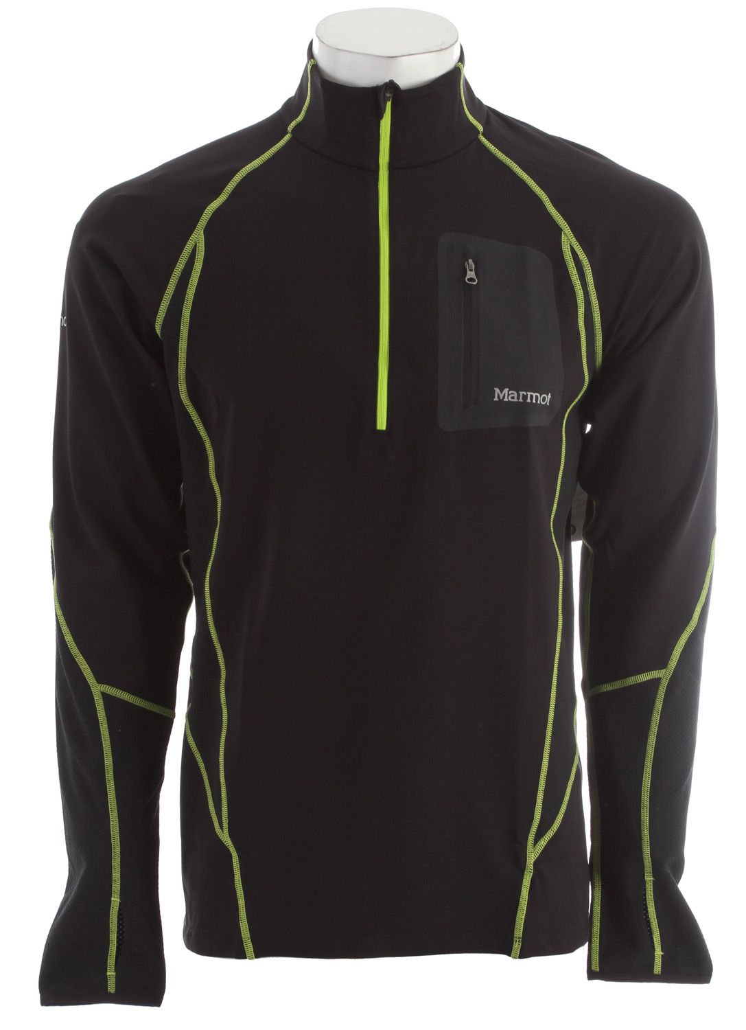Key Features of the Marmot Helix 1/2 Zip L/S Shirt: Weight 0lbs 10.6oz (300.5g) Materials 57% Nylon, 30% Polyester, 13% Elastane Terry Twill 6.5 oz/yd 100% Polyester Pique 4.2 oz/yd Fit Semi-Fitted Lightweight, Breathable, Soft Performance Knit Fabric Ultraviolet Protection Factor (UPF) 50 Polyester Backing for Wicking and Quick-Drying Nylon for Durability Mesh Panels for Breathability Raglan Sleeve for Increased Range of Motion Flat-Locked Seams for Added Comfort Bonded Zipper Secure Media Pocket Droptail Hem for Increase Coverage Thumbholes Chin Guard Tag-Free Neckline Reflectivity - $62.95