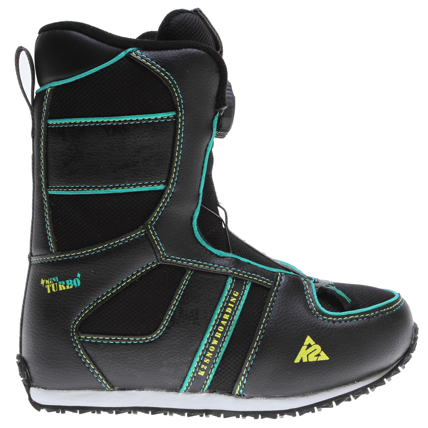 Snowboard Keeping kids warm, comfy and secure is the focus of these micro shredder boots. Boa is a must at this age and grows with you footbeds make sure you get two season in before advancing to another pair.Key Features of the K2 Mini Turbo Snowboard Boots: Flex: 1 LACING SYSTEM: Boa FOOTBED: EVA Insole DETAILS: Heel & Tongue Pull for easy entry - $48.95
