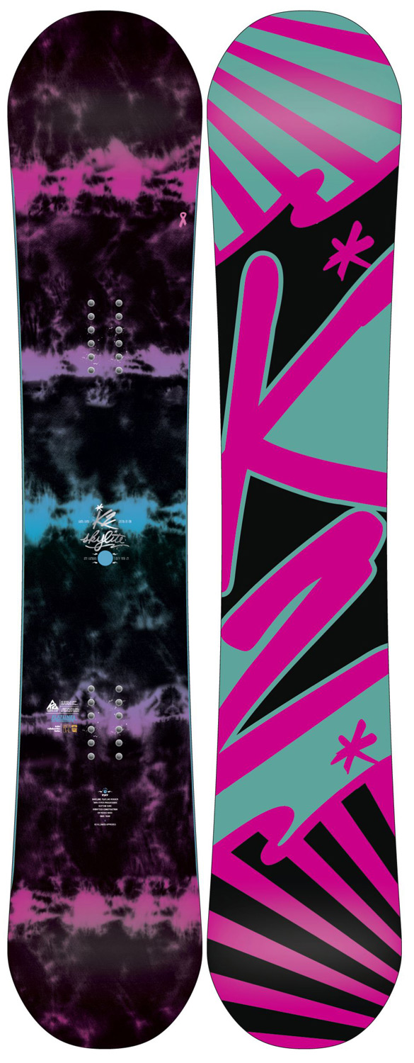 Snowboard THE SKY IS THE LIMIT The all-new 2012 K2 Sky Lite is designed for the women rider that wants to fill her days exploring and progressing on all types of terrain. Constructed with Flatline and Jib Tip, the Sky lite is ready to handle the whole mountain with confidence and ease.Key Features of the K2 Sky Lite Snowboard: Rhythm Core Baseline: Flatline Damping: Standard Construction: Hybritech Shape: Twin Dual Progressive Stance: Centered Core: W1 Core Additives: Standard Glass: Biax / Biax Base: 2000 Extruded Base Bevel: 3 - $237.95
