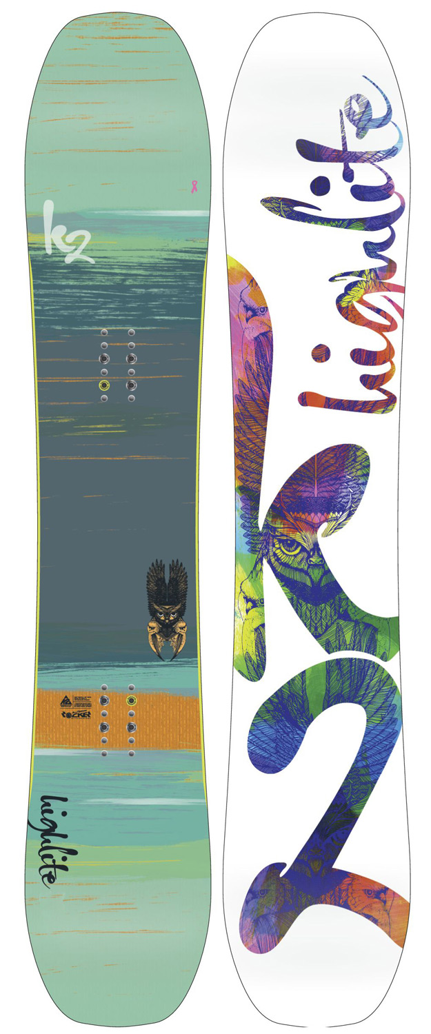 "Snowboard The High Lite Snowboard answers the call for a women's-specific all terrain board that brings high end tech and innovation without loosing the focus on good days and good times. Equipped with a Bambooyah Blend Core, NEW Tweekend upgrade and BC Shaping, this shred stick merges power with finesse.Key Features of the K2 High Lite Snowboard: BASELINE: All Terrain Rocker Tweekend DAMPING: Standard Construction: Hybritech Shape: Backside Hyper Progressive Stance: Setback 3/4"" (19mm) Core: Bambooyah Blend WH4 Rhythm Glass: Triax / ICG 20 Additives: Carbon Web II Base: 4000 Sintered Base bevel: 1"" - $384.95"