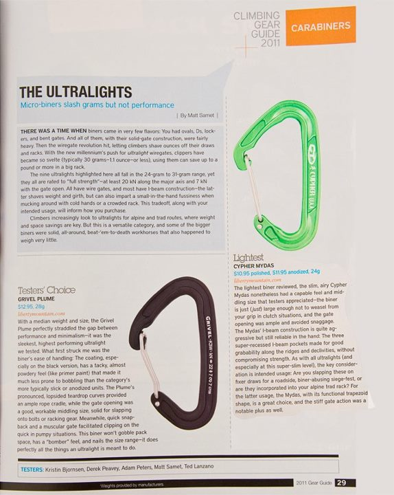 Climbing The Cypher Mydas carabiner was featured in the 2011 Climbing Mag Gear Guide.