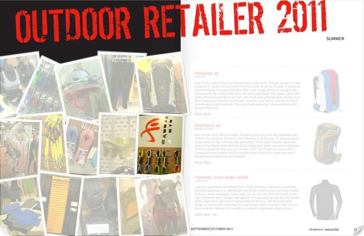 Climbing Back in 2011, Climberism magazine included a shot of our quickdraws in their Outdoor Retailer spread.