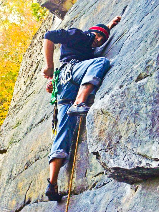 "Climbing Westley Shaffer, Liberty Mountain's Sales Rep, climbing ""Totally Tammy"" at New River Gorge, WV with Cypher Stonefly carabiners and Cypher slings, on left side!  Photo from Westley Shaffer."