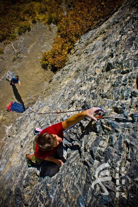 Climbing Layne Caldwell uses the Cypher Firefly II quickdraws to protect himself as he climbs to the top of Twist and Shout at the Escape Buttress in American Fork, UT.  Photo by Benjamin L Eaton.