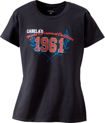 Entertainment In bold Americana red, white and blue, this jersey-knit tee proudly bears the Cabelas logo. Screen printed in a distressed style on 100% preshrunk 6.1-oz. cotton with feminine shoulders, arms and sleeves. Seamless double-needle collar and hems. Machine washable. Imported.Center back length: 26.Sizes: S-2XL.Color: Black. Type: Short-Sleeve Tee Shirts. Size: Medium. Color: Black. Size Medium. Color Black. - $9.88
