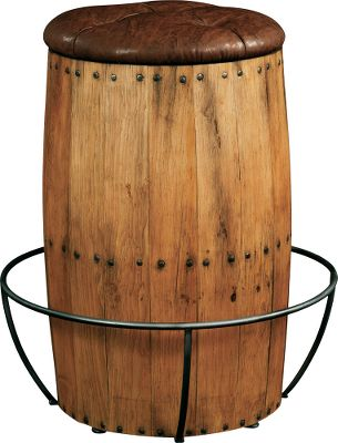 Entertainment The American West Barstool is part of the rustic and timeless American West collection. This handcrafted barrel barstool is made of pine with a trestlewood finish and leather seat. Exposed nailheads and iron enhance the rustic look.Dimensions: 30H x 20W x 20D.Weight: 52 lbs. - $519.99