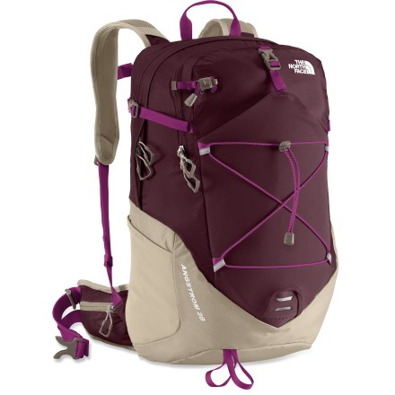 Camp and Hike The North Face Angstrom 28 pack for women lets you and your essentials venture into the wilderness in comfort. Launch your done-in-a-day adventures with this lightweight and high-activity pack. Dual-density air-mesh shoulder harness and stowable air-mesh hipbelt are shaped for a woman and work in concert with a molded back panel for ventilation and comfort. Panel-loading main compartment contains a padded hydration sleeve (reservoir sold separately); multiple pockets make it easy to organize gear. Large stretch-woven pocket on the front is perfect for rain gear or other bulky stuffables. Stretch-woven side pockets hold water bottles (sold separately) or other often-used items. Built-in raincover stuffs into its own pocket when not in use. The North Face Angstrom 28 pack is made of durable 210-denier ripstop and ultralight 70-denier mini-ripstop nylon. - $119.00