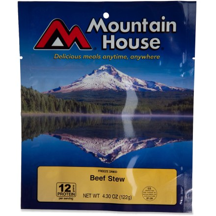 Camp and Hike Mountain House Beef Stew is a camping and backpacking classic. Made with all natural beef, potatoes and carrots, it's hearty and delicious. - $9.00