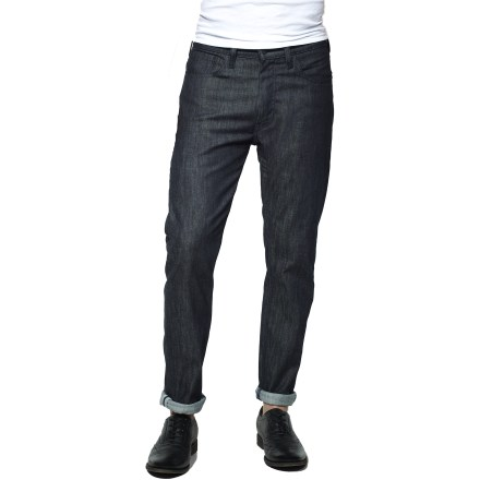 Fitness Style, performance and versatility are the core themes of the Levi's 505 Straight-Fit Commuter denim bike pants, which are designed for urban riding and everyday living. Stretch denim fabric comfortably moves with you as you go about your day, whether you're riding or strolling through the city. Water-resistant and dirt-repellent Schoeller NanoSphere(R) protective finish helps fend off light rain, mud and road grit. Odor-resistant finish helps keep funky odors from developing. Reinforced stitching in key locations enhances durability for long-lasting use. U-lock holster is integrated with back waistband to make it easy to carry your lock as you ride. Rolling up pant cuffs exposes 3M Scotchlite(TM)reflective tape, which helps boost your visibility to motorists. 2 front hand pockets, single coin pocket and 2 back drop-in pockets make up the classic 5-pocket style and utility. Levi's 505 Straight-Fit Commuter denim bike pants have a straight-leg fit that sits below the waist; higher rise at back supplies increased coverage when riding. - $88.00