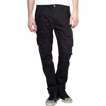 Fitness Whether you're riding, commuting, working or living it up, the Levi's Commuter Cargo twill bike pants are designed for the urban cyclist seeking style, comfort and performance for any-day wear. Stretch twill fabric comfortably moves with you as you go about your day, whether you're riding or strolling through the city. Water-resistant and dirt-repellent Schoeller NanoSphere(R) protective finish helps fend off light rain, mud and road grit. Odor-resistant finish helps keep funky odors from developing. Built to endure, the back pockets, belt loops and crotch have reinforced stitching; the seat and back pockets are also double-layered to offer long-lasting performance. U-lock holster is integrated with back waistband to make it easy to carry your lock as you ride. Rolling up pant cuffs exposes 3M Scotchlite(TM)reflective taping, which, along with reflective tabs at back pockets, help boost your visibility to motorists. In lieu of rolling up your cuffs, snap tabs at cuffs let you cinch tight the cuffs to help keep pant legs away from chain. Carrying your stuff with you is an uncomplicated matter thanks to 2 snap cargo pockets, 2 hand pockets with secondary snap pockets and 2 back drop-in pockets. Levi's Commuter Cargo Twill bike pants have a slim fit that sits below the waist; higher rise at back supplies increased coverage when riding. - $67.93