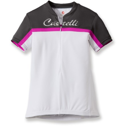 Fitness Ready for fast descents and tough climbs, the Castelli Promessa women's bike jersey is soft, smooth and designed to help you push the pace in style. Lightweight, breathable polyester fabric wicks away moisture and dries quickly, keeping you cool and dry even when you start to sweat. Deep front zipper allows immediate ventilation when the day heats up. 3 rear elastic pockets store small essentials such as energy gels, spare tubes, ID or phone. Slight droptail hem on the Castelli Promessa bike jersey provides full coverage while in the riding position. Closeout. - $15.73
