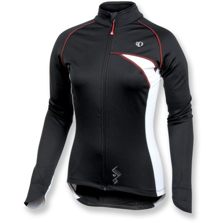 Fitness With cozy fleece to keep you warm and lightweight, stretchy fabric that moves with you, the Pearl Izumi Symphony Thermal bike jersey provides complete comfort during cold-weather rides. Brushed stretch polyester microfleece interior adds warmth while remaining moisture-wicking and quick-drying to keep you comfortable when you start to sweat. Full-length front zipper provides immediate ventilation when you need to cool off. Contoured sleeve cuffs ensure full wrist coverage for extra warmth. Zippered rear pocket features 3 compartments for easy organization and storage. Droptail hem on the Pearl Izumi Symphony Thermal jersey provides complete coverage while in the riding position. Closeout. - $51.73