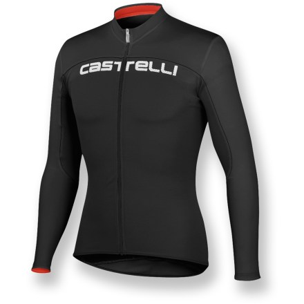 Fitness Long sleeves offer complete coverage and lightweight fabric provides breathable comfort, making the Castelli Prologo HD long-sleeve FZ bike jersey a great choice for riding in almost any weather. Lightweight, soft polyester fabric wicks moisture away from skin and dries quickly, keeping you cool and dry as you start to work up a sweat. Long sleeves add lightweight coverage for extra warmth on chilly days. Full-length zipper allows immediate ventilation when you need it. 3 elastic rear pockets easily store energy gels, spare tube, phone and other items; rear zip pocket with hidden zipper secures small essentials such as ID or credit card. Elastic droptail hem on the Castelli Prologo HD long-sleeve FZ bike jersey offers coverage in the riding position and a stay-put fit. Closeout. - $46.73