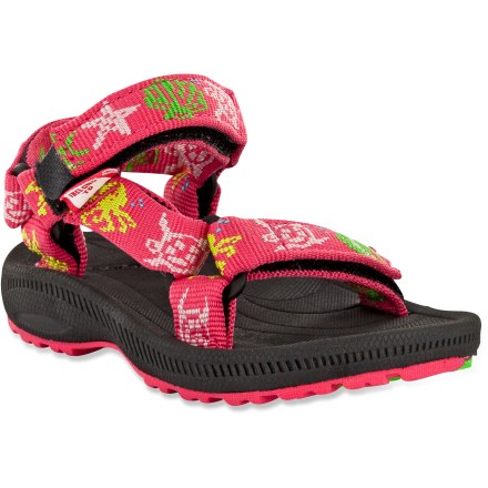 Surf The Teva Hurricane 2 sandals for toddler girls are a great choice for beach adventures or sun-filled jaunts. Patented universal strapping system ensures a secure, personalized fit; rip-and-stick polyester webbing straps are easy to operate. Open toe construction won't let water pool. Soft compression-molded EVA topsoles keep little feet comfortable. EVA midsoles offer lightweight cushion for all-day comfort. Teva Hurricane 2 sandals feature nonmarking River Rubber(TM) outsoles for traction on wet or dry surfaces. - $16.83