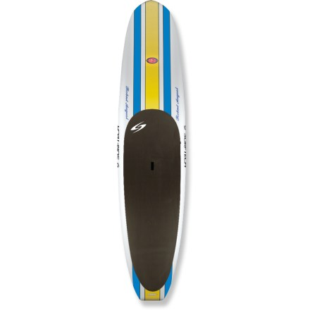 Surf Lightweight, responsive, maneuverable and fast, the Surftech Robert August What I Paddle 11 ft. 6 in. stand up paddleboard is your ticket to flatwater cruising and playing in the surf. Besides providing a new way to get on the water, paddleboarding develops core muscles and balance-it's the perfect training activity for surfers, skiers and paddlers. The What I Paddle 11 ft. 6 in. stand up paddleboard is Robert August's personal shape, and it offers a solid crossover design for both flatwater and small-wave surfing. Blunt and wide nose with a concave hull offers easy lift during cruising; squashtail with rolled rails handle turns in small waves. High-quality, lightweight Tuflite epoxy board features a sandwich construction that provides the ultimate combination of performance and durability. Flat bottom design offers great stability and speed; hard rails and a narrow tail offer performance in waves. Secondary stability provides control and confidence in turns; stability also lets you focus more on paddling and the view and less on balancing during longer paddles. 9.5 in. single fin and 2 side-bite fins promote straight tracking in the water; integrated deck pad provides exceptional grip and reduces foot fatigue. Center handle makes transporting your Surftech Robert August What I Paddle 11 ft. 6 in. stand up paddleboard a breeze. - $1,760.00