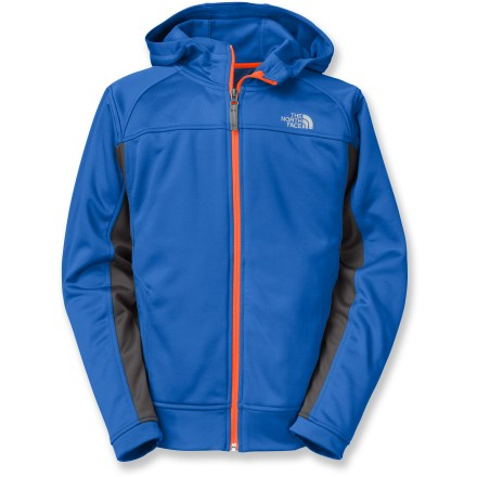 Entertainment The North Face Surgent Full-Zip hoodie for boys is light enough to go under a coat and warm enough to be a jacket on warmer days; it will definitely be a favorite. Soft, non-pilling polyester fleece retains warmth, continuing to insulate even if wet. Fabric provides UPF 50+ sun protection, shielding skin from harmful ultraviolet rays. The North Face Surgent pullover hoodie features 2 hand pockets, contrast flatlock stitching and a cool logo on the chest. - $37.93