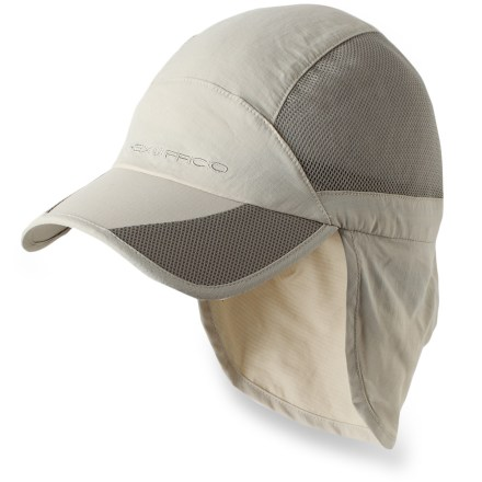 Offering protection from insects and sun, the lightweight ExOfficio BugsAway(R) Breez'r Cape Hat offers coverage and convenience for your travels and adventures. EPA-registered, odorless Insect Shield(R) Repellent Apparel helps keep biting and potentially disease-carrying insects away. Insect Shield is effective through 70 washes. Lightweight nylon fabric wicks moisture and dries fast for comfort; fabric also provides UPF 30 protection against harmful solar rays. Fold-away sun cape can be deployed for added protection across the back of your neck; cape is 5.75 in. long. Cotton terry sweatband is soft against bare skin; adjustable elastic drawcord cinches at back of hat for a personalized fit. Bill of the ExOfficio BugsAway Breez'r Cape Hat is 2.75 in. long (at sides). - $23.93