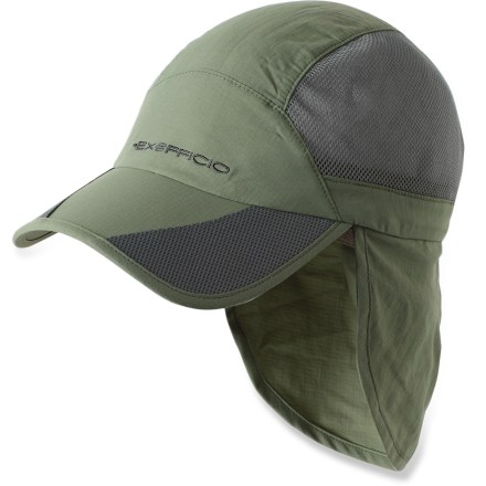 The ExOfficio BugsAway(R) Breez'r Reversible Sun Hat offers excellent bug and sun protection along with a packable, reversible design for versatile convenience. EPA-registered, odorless Insect Shield(R) Repellent Apparel helps keep biting and potentially disease-carrying insects away. Insect Shield is effective through 70 washes. Lightweight nylon fabric wicks moisture and dries fast for comfort; fabric also provides UPF 30 protection against harmful solar rays. Cotton terry sweatband is soft against bare skin. Packable design makes it easy to bring the hat along on any adventure; hat can be stuffed into its own pocket. Removable chin strap with cinch keeps the ExOfficio BugsAway Breez'r Reversible sun hat on your head when the wind picks up. - $23.83