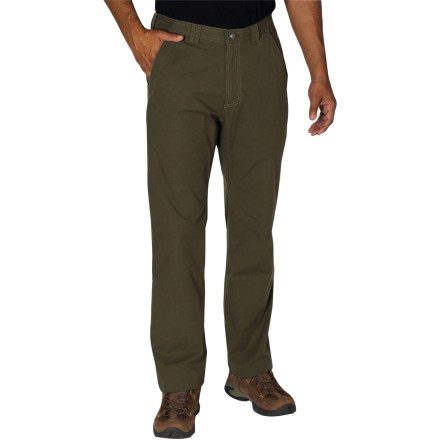 Camp and Hike Wherever you roam, wear the durable ExOfficio Roughian 32 in. inseam pants to stay comfortable and stylish. Blend of cotton, polyester and spandex canvas withstands regular wear in the outdoors and while traveling; a touch of stretch allows pants to move with you without binding up. With a UPF 50+ rating, fabric provides excellent protection against harmful ultraviolet rays. Riveted jean tack-button closure. Includes hand and rear pockets, plus 2 zip security pockets to keep small items safe; integrated tether in right hip pocket secures your keys. ExOfficio Roughian pants have a regular fit and are preshrunk. - $42.83