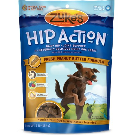Camp and Hike Now in a convenient 1 lb. bag! Zuke's Hip Action offers daily hip & joint support in a naturally delicious moist dog treat with added vitamins & minerals. Formulated for optimal balance of nutrients to strengthen hips, joints and connective tissue. Treats are loaded with glucosamine, condroitin and eggshell membrane-naturally occurring nutrients that help support joint health. Zuke's Hip Action features naturally powerful berries, herbs and seeds-wholefood antioxidants that help maintain hips and joints. - $18.00