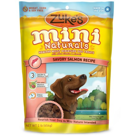 Camp and Hike Made of the finest natural ingredients, these moist, bite-size Zuke's Mini Naturals supply your active dog with essential vitamins and minerals. Wholefood antioxidants help maintain a healthy lifestyle with nutrient-rich cherries, rosemary and turmeric. Great for training, Mini Naturals have the perfect little size and amazing taste to keep training fresh, healthy and fun. At less than 3.5 calories per treat, Zuke's Mini Naturals help keep furry waistlines trim even when feeding as a frequent reward. - $14.00