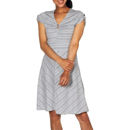 Entertainment With cute stripes and a ring detail at the bust, the ExOffico Go-To Stripe dress is crafted from dri-release(R) performance knit fabric to keep you cool and dry while traveling. Comfortable dri-release(R) jersey knit fabric wicks moisture, resists wrinkles and keeps you fresh all day; it dries 4 times faster than cotton alone. Freshguard(R) treatment embedded in the yarn virtually eliminates odor and won't wash out. Stretch in the fabric enhances comfort while feminine shaping and flared silhouette flatter your figure. Hidden security zip pocket in right seam at waist. ExOfficio Go-To Stripe dress has a tag-free label to prevent irritation. - $48.93